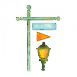 Sizzlits decorative strip die - Flagpole, Lantern & Sign
