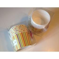 Coppette gelato con cucchiaino diametro 9,5 cm righe verticali color rosso, rosa, giallo, azzurro.