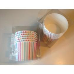 Coppette gelato con cucchiaino diametro 9,5 cm righe verticali color rosa, celeste, verde, arancio.