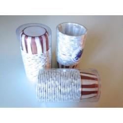 Pirottini tondi rigidi 3x3,8 cm righe verticali marroni e bianchi. Confezione 25 pz.
