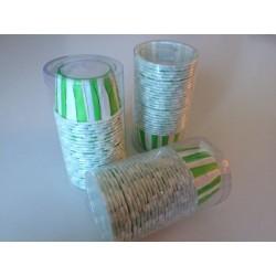 Pirottini tondi rigidi 3x3,8 cm righe verticali verdi e bianchi. Confezione 25 pz.