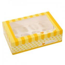 Confezione muffin/cupcake 6/12 fori di colore giallo