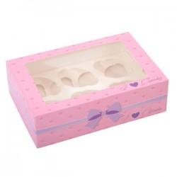 Confezione muffin/cupcake 6/12 fori di colore rosa